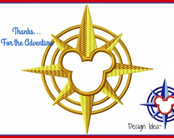 Disney Cruise Line Mickey Compass Digital Applique Embroidery Machine Design File 4x4 5x7 6x10