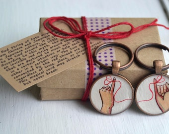 best friend key chain set,  red string of fate, hand painted