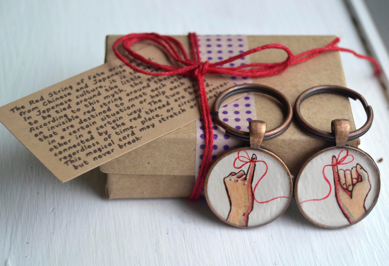 best friend key chain set red string of fate hand painted