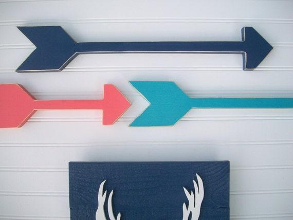 Nursery Arrows . Nursery Arrow Set . Coral . Navy . Teal . Modern Nursery . Tribal Nursery . Boho Baby . Wooden Arrow . Boho Arrow