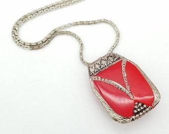 Vintage Art Deco Czechoslovakia Red & Antiqued Silver Pendant Necklace