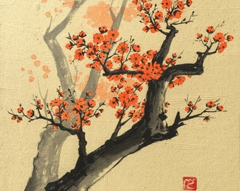 Chinese Painting, Cherry blossom, Ink Painting, Original artwork.