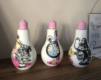 Alice and the Mad Hatter Light Bulb vases