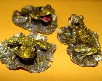 Frog Family, Pewter Frogs, Glitter Bunch, 3 Piece Set