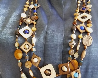 LONG 3-STRAND NECKLACE with Mother-Of-Pearl Beads in Brown, White, Bronze. Natural Earthtone Beaded Necklace. Artistic Statement Jewelry.