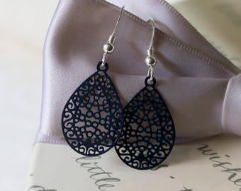 Black filigree laser cut earrings with Sterling earwires