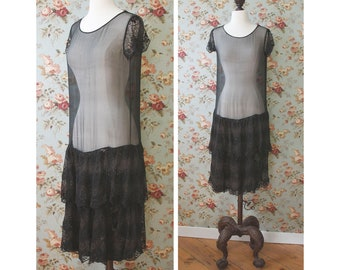 vintage AS-IS 1920s sheer black dress <> 1920s black dress with tiered lace bottom <> sold in as-is condition