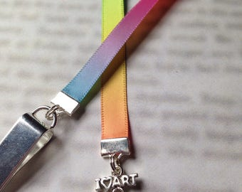 Artist Bookmark / Painters Palette Bookmark - Attach clip to book cover then mark the page with the ribbon. Never lose your bookmark!