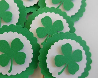 Four Leaf Clover Cupcake Toppers - Green and White - St. Patricks Day Cupcake Toppers - Set of 12