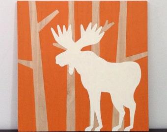 Wood Wall Art - Cabin Decor - Moose Art - Woodland Nursery Decor - Woodland Nursery Art - Hunting Decor - Hunting Nursery - Moose Decor