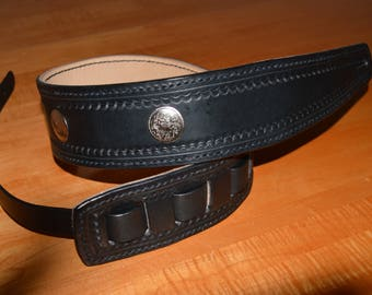 Guitar Strap - Lined, Black & Natural Coloured Leather