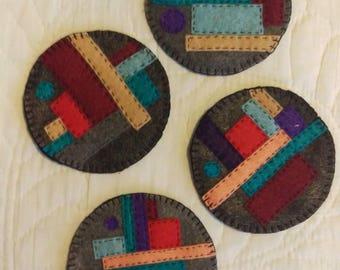 Mug Rugs / Coasters set of 4, Textile Art