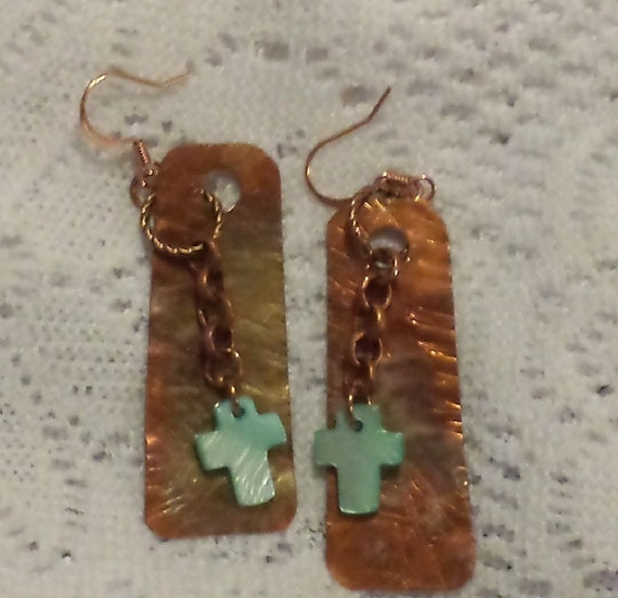 Freeform Copper and Blue Mother of Pearl Cross Earrings
