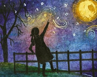 Watercolor Girl, Metal Moon Wall Art , Moon Art, Van Gogh, Starry Night, Girl on Aluminum, Girl with Pigtails, Metal Art, Girl and Moon,