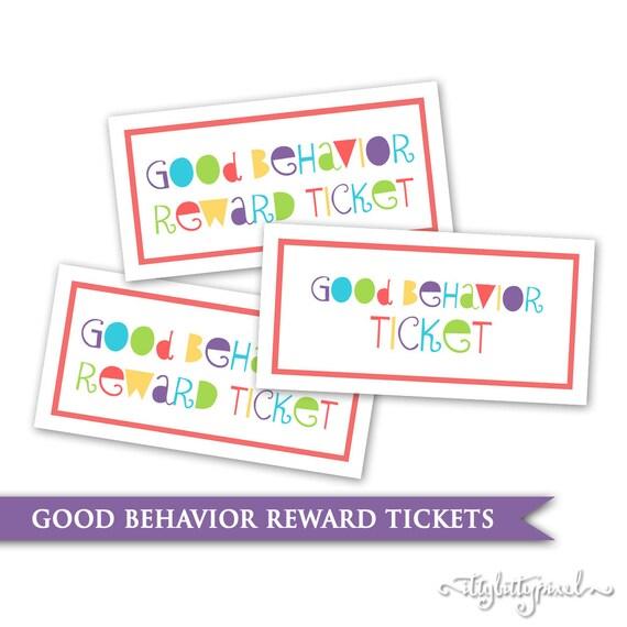 Kinder Verhalten Tickets druckbare digitale PDF Belohnung