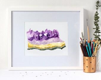 Watercolour Amethyst Gemstone 8x10 Art Print
