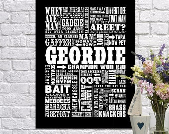 Boyfriend gift, husband gift, gifts for men, gifts for women, Traditional Geordie Sayings Giclee Print/Canvas