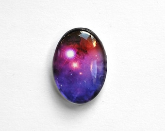 25x18mm handmade nebula glass cabochon - space / cosmos cabochon - jewelry supplies