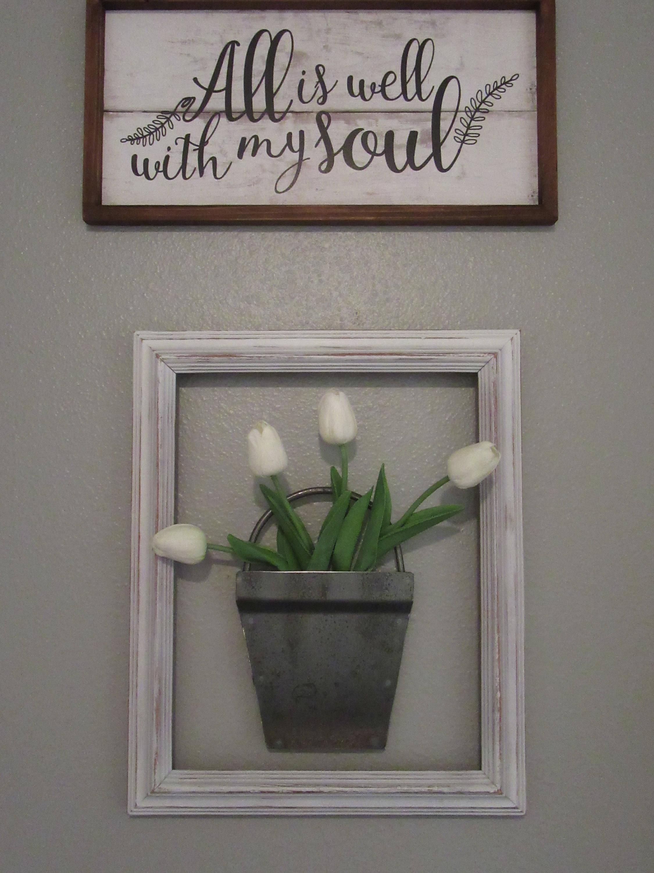 small metal bucket wall planter home decor handmade bucket. Black Bedroom Furniture Sets. Home Design Ideas