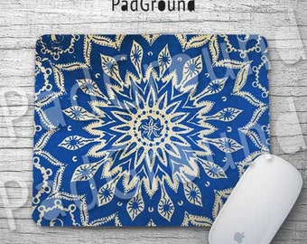 Mandala Mouse Pad, Blue Floral Pattern, Computer Accessories, Gifts, Home Decor, Natural Soft Fabric rubber backing Mouse Pad - MA01
