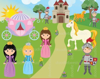 Princess Clipart, Fairytale Clipart, Princess Clip Art, Knight Clip Art, Castle Clipart, Digital Carriage, Princess and Prince Clipart