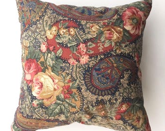 Vintage Floral & Paisley Bohemian Style Scatter Cushion with Feather Inner