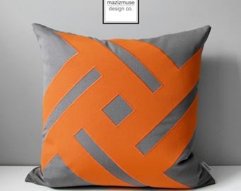 Grey & Orange Outdoor Pillow Cover, Modern Pinwheel, Decorative Cushion Cover, Gray and Tuscan Sunbrella Throw Pillow Case, Mazizmuse Decor