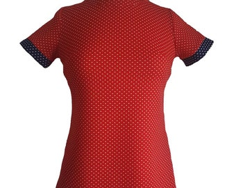 Vintage 1960s Dress GoGo Juniors Dress Short Sleeve High Neck - Red and Navy with White Polka Dots - Vicky Vaughn Junior