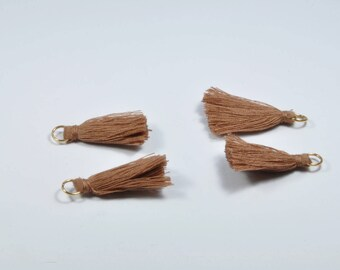 BR891 - Set of 4 light brown and gold tassel charms
