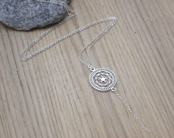 Sterling silver mandala necklace - ethnic necklace - long necklace - minimalist necklace - circle pendant necklace