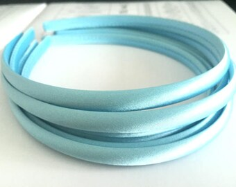 10pieces light blue satin plastic hair headband covered 10mm wide