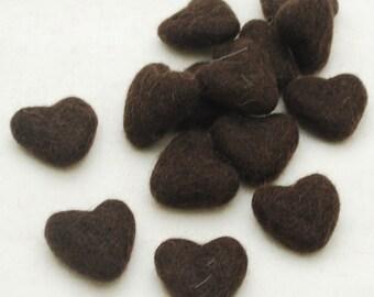 3cm 100% Wool Felt Hearts - 10 Count - Dark Brown