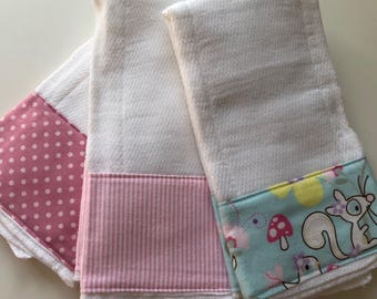 Sweet Woodland Animals baby burp cloth set in pink and aqua.