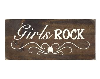 Girl Bedroom Sign Rustic Wood Wall Art - Girls Rock (#1121)