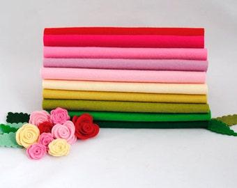 100 Percent Wool Felt Sheets - 10 pieces - 'Rose Garden' - merino wool felt