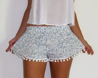 Light Grey Swirl Patterned Pom Pom Shorts - 1970s inspired shorts with Pom Poms