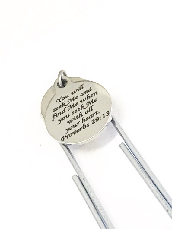 Christian Bookmark, Christian Gift, Seek God and Find God Bookmark, Proverbs 29 13 Charm, Bible Bookmark, Planner Bookmark, Baptism Gift