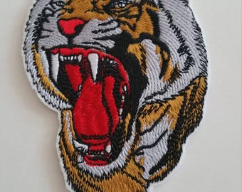 2 DIMENSIONS TIGER HEAD iron on or sew on patch Big tiger patch Tiger iron on patch Wild animal patch Tiger iron on applique Tiger applique