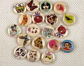"30 PC Painted wood buttons 15mm - Wooden Buttons ,tree buttons, natural wood buttons ""animal "" A057"