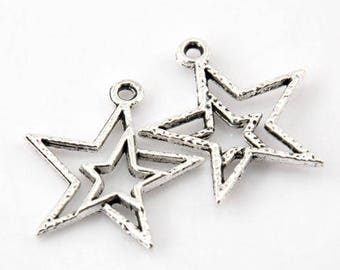 "set of 10 charms ""Star"""