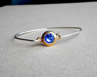 Sterling Silver Bangle with Clasp, Sapphire  Swarovski Crystal, Birthstone Jewelry, Stacking Bangle, Handmade Bangle USA
