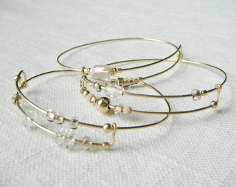 Expandable bangles, set of three bangles, gold filled wire bangles, stackable bangles, unique jewelry, minimalist bangle, modern bracelet
