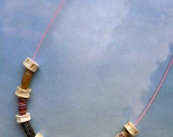 Fish vertebrae, mizuhiki wire necklace