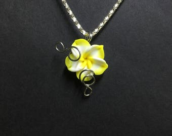 Yellow Flower Necklace, Sculpey Clay Flower Pendant Necklace