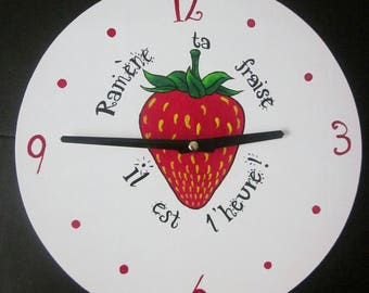 Red and white wooden clock humorous Strawberry