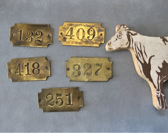 Vintage Brass Number Plates, Salvage, Antique Numbers