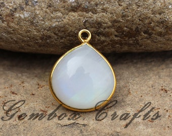 Natural Rainbow Moonstone 20mm Heart Cabochon 925 Sterling Silver Gold Plated Bezel Pendant
