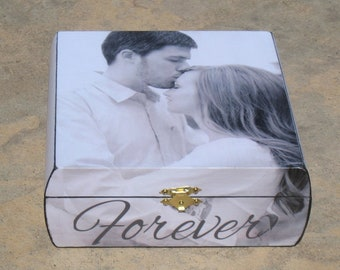 Unique Engagement Gift, Photo Keepsake Box, Personalized Boyfriend Gift, Custom Wedding, Anniversary Gift, Memory Box, Valentine's Day