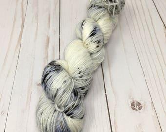 Hand Dyed Yarn on Merino cashmere Nylon MCN Newsprint  - speckled black gray