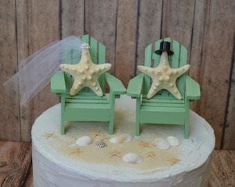 Beach wedding cake topper-destination-bride and groom-mint green-sea foam-Mr and Mrs-starfish-cake topper-nautical-wedding-Adirondack chairs